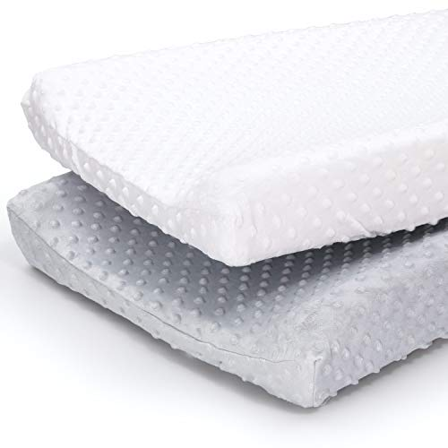 The Peanutshell Plush Minky Changing Pad Covers for Baby Boys or Girls | 2 Pack Set in Unisex Grey amp White