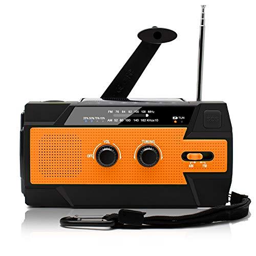 防災ラジオ 手回し充電 ソーラー充電 USB充電 大容量4000mAh 多機能 AM/FM SOSアラート アウトドア キャンプ 防災 台風 津波 地震 震災 停電緊急対策 (オレンジ)