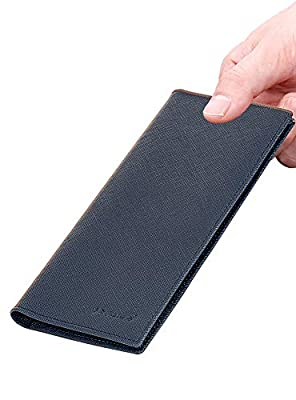 Mens Wallet RFID Blocking Vintage Genuine Leather Bifold Long Wallet Card Holder (Navy2)