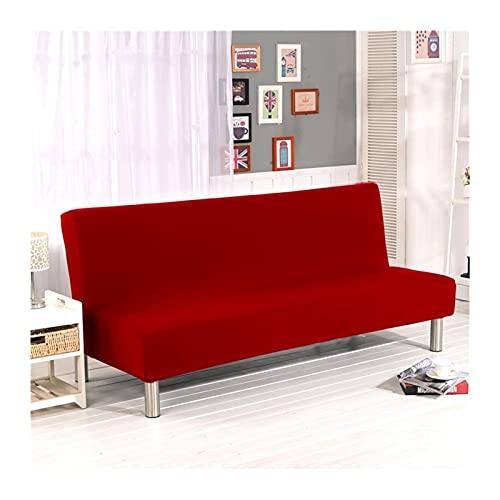 Cubierta de la cama de sofá sin brazos universal, plegable modernas cubiertas de asiento cubiertas de estiramiento protector de sofá cubierta elástica ( Color : Red , Specification : M(160cm 180cm) )