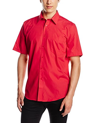 Fruit of the Loom Herren Poplin Short Sleeve Freizeithemd, rot, 56
