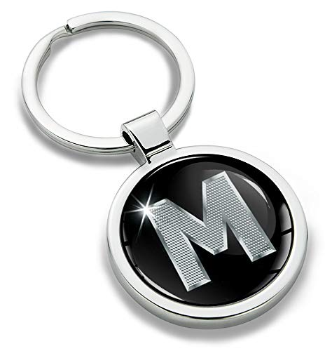 Biomar Labs® Portachiavi 3D in Metallo con Lettere dell'alfabeto A-Z Personalizzabile, in Argento, da Uomo e da Donna, con Lettera M, KK 13