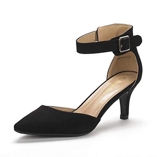 DREAM PAIRS Women's Lowpointed Black Suede Low Heel Dress Pump Shoes - 8 M US