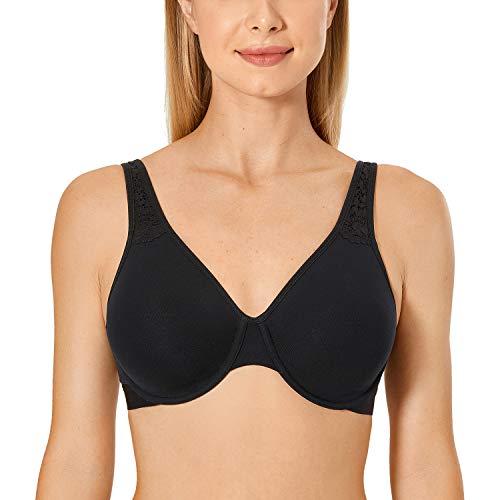AISILIN Women's Cotton Full Coverage Plus Size Underwire Unlined Minimizer Bra Black 46C