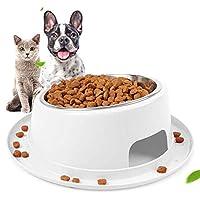 犬 食器 猫 食器 ペット ボウル ステンレス 給食器 安全で毒性のない滑り止めのステンレス鋼の猫と犬のボウルのペット用品 食事をより気軽に メラミン製スタンド付き 滑り止め 取り外し可能 洗いやすい 食器洗濯機で洗える