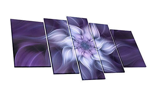 Bauhinia Chinese Redbud Purple Flower Plant Botany Picture Artwork 5 Panel Oil Painting On Canvas Stretched And Framed Giclee Print Home Decoration Living Room Bedroom Wall Art Hanging by uLinked Art
