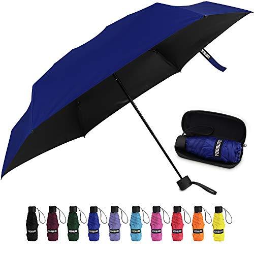 Yoobure Small Mini Umbrella with Case Light Compact Design Perfect for Travel Lightweight Portable Parasol Outdoor Sun&Rain Umbrellas (Blue)