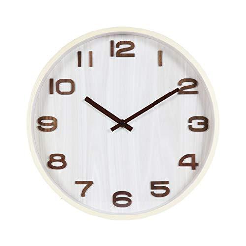 kerryshop Lautlos Wanduhr Stumm Massivholz Wanduhr Simple Fashion Clock Home/Schlafzimmer/Büro Uhr Runde Quarzuhr 35cm Büro Wanduhr (Color : B)
