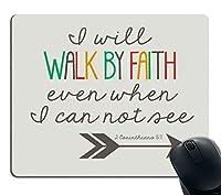ゲーミングマウスパッド習慣、聖書の一言キリスト教の引用1コリント5:7滑り止めラバー大型マウスパッドが見えなくても、私は信仰によって歩みます