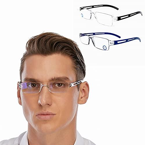DOOViC Blaulichtfilter Computer Lesebrille 2,5 - Eckig Rahmenlose Brille Leicht Computebrille mit Sestärke für Herren/Damen (Schwarz/Blau)