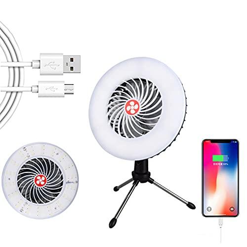 YMXLXL Ventilador Eléctrico - Enfriar Rapidamente - Batería Integrada - Ventilador de Mano USB con Luces y Soportes para Acampar, Viajar, IR de Compras, Recorridos Sin Conductor, Puestos, Etc