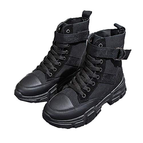 Botines de Mujer Impermeables Casuales Cordones Zapatillas de Lona Deporte al Aire Libre Botas Cortas de Plataforma de Invierno para Caminar