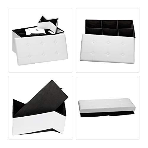 Relaxdays faltbare Sitztruhe mit 6 entnehmbaren Fächern, faltbar, Kunstleder, 76x38x38cm - 2
