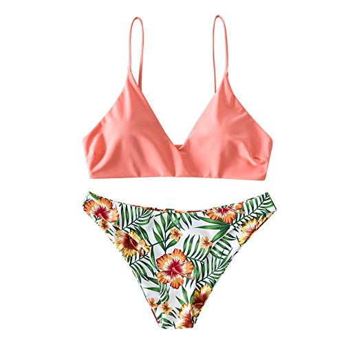 Zaful Bikini da donna composto da reggiseno push-up e slip a vita alta, con motivo floreale, costume da bagno estivo Colore: rosa. S