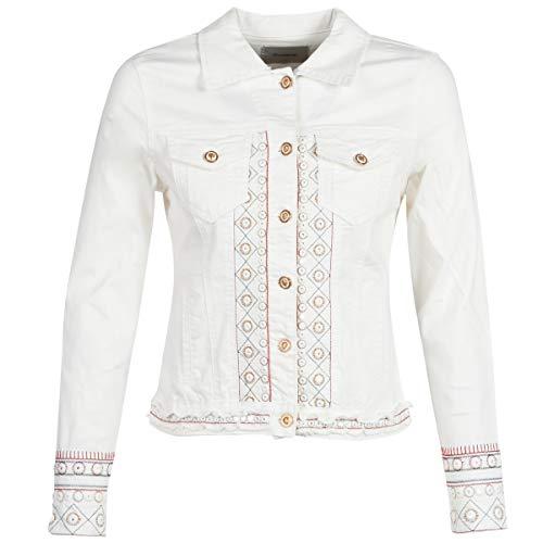 Desigual Chaq Pink Boho Jeansjacke weiß White Denim Jacket Chaqueta Blanco (46)