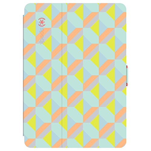 Speck Products Design 77233-5410 StyleFolio Case and Stand 9.7' for iPad Pro, Playa Geo Citrus/Warning Orange/Mykonos Blue