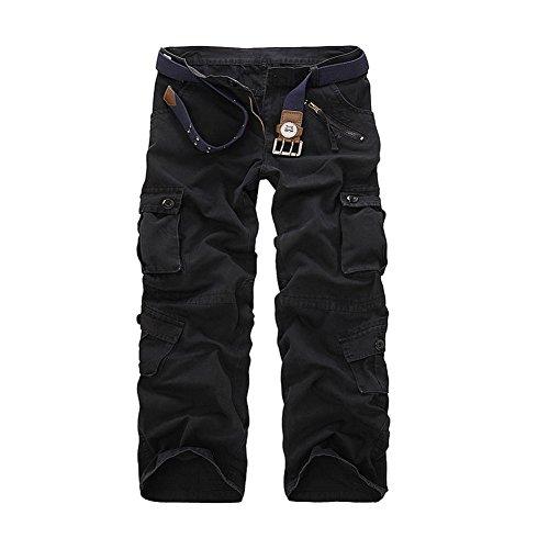 AYG Herren Lässige Cargo Pant Cargo Hose Baumwolle Militär UK 29–40Taille Gr. Größe 42-44, schwarz