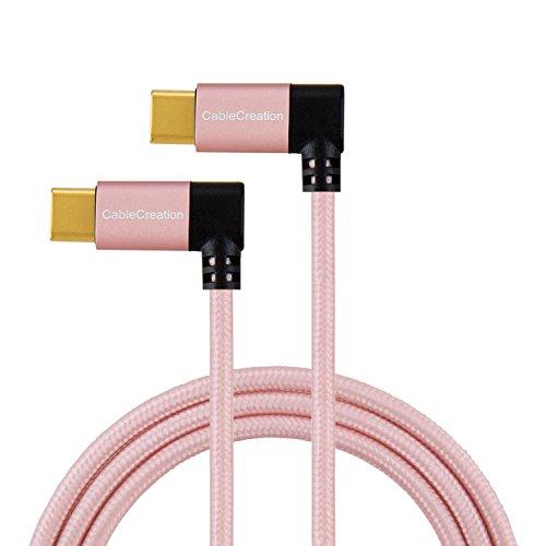 CableCreation USB Typ C Kabel, 4 Ft Dual rechten Winkel USB c auf USB c geflochten, kompatibel für Neue MacBook (Pro), Nintendo Schalter, Nexus 5 x/6P & Neue USB-c Geräten,1,2 m/schwarz & weiß