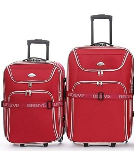 2-Piece Trolley Suitcase Set 66 and 56 cm Expansion Pleat Suitcase Strap Red