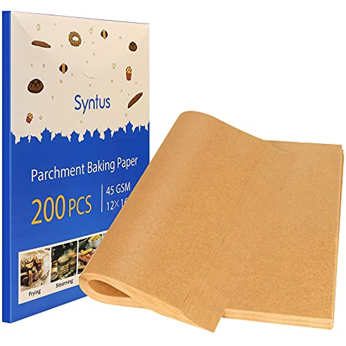 Syntus Parchment Paper Sheets, 200 Pcs Non-Stick Precut 12 x 16 Inch Unbleached Baking Papers for Cookies Steaming Bread Cup Cake Grilling Air Fryer