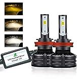 H11 LED Headlights Bulbs three Color Conversion Kit White(6000K) & Yellow(3000K)&Warm White(4300K) Lamp 30W 10000LM