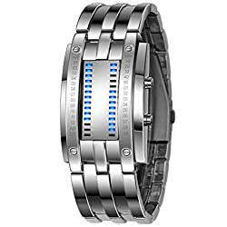 Classic Mens Blue LED Digital Binary Square Waterproof Outdoor Sports Watch Silver Plated Wrist Watches for Men(Silver)