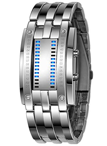 Classic Mens Binary Matrix Blue LED Digital Waterproof Watch Silver Plated Stainless Steel Wrist Watches (Silver)