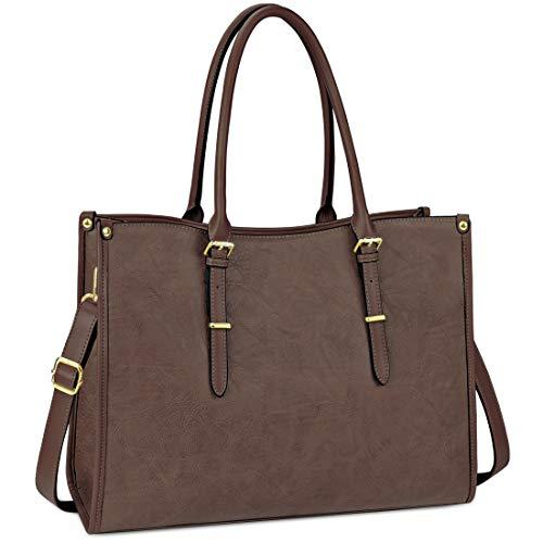 Nubily - Bolsa ligera de piel para laptop de 15.6 pulgadas para mujer, bolsa tipo portafolio L Coffee