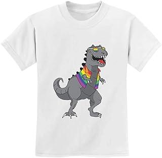 T-Rex Rawr Pride Parade LGBT Rainbow Flag Youth Kids T-Shirt