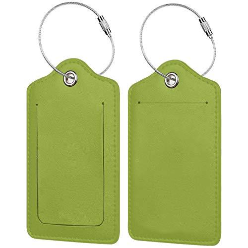 FULIYA Juego de 2 etiquetas de equipaje seguras de alta gama de cuero para maletas, tarjetas de visita o bolsa de identificación de viaje, color caqui, fondo, monocromo, minimalismo, verde