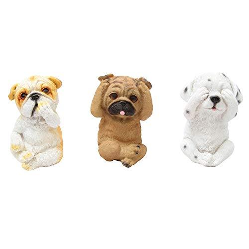 1Plus - Figuras decorativas de polirresina Nikko para jardín, tres perros blancos, para ver escuchar, para jardín