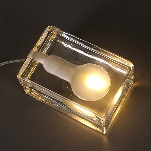 DAMAI Moderna De Vidrio Artesanal Sólida Cartera De Pedidos Dormitorio Decorativa Lámpara De La Personalidad De Ladrillo De Hielo Simulación Lámpara De Tabla Creativa Del Cubo De Hielo De 12 * 8 * 7cm