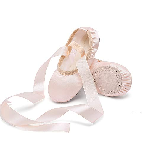 STELLE Girls Ballet Dance Shoes Satin Slippers Gymnastics Flats Split Sole with Ribbon (BP, 10MT)