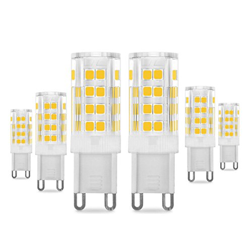 G9 LED Lampadina 5W, Pursnic 400LM Equivalente 40W Lampada Alogena, Lampade LED Bianco Caldo 3000K, AC 200-240V, Senza Flicker, Angolo di 360 Gradi, CRI> 83, Lampadina a LED G9, Confezione da 6
