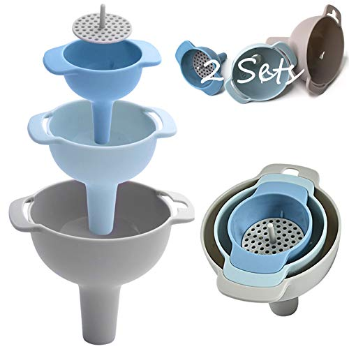 Embudos de Cocina,2 Juegos 4 en 1 PláStico Embudo, con Colador Desmontable Embudos de Plástico de Calidad Alimentaria Ideal para Rellenar Especias Polvo LíQuido Frijoles Mermeladas Conservas