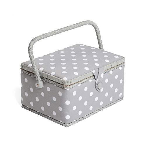 Hobby Gift MRM_ Caja de costura, mediana, mezcla de algodón, gris, 18,5x26x15 cm