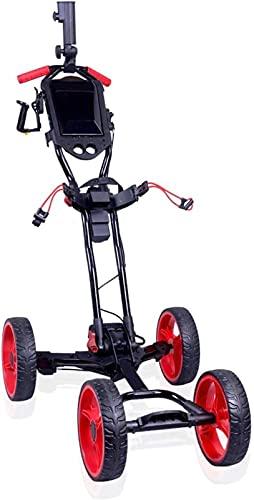 Chariot de Golf Pliant One-Click Chariot de golf pliable léger, chariot de golf électrique / chariot avec porte-carte, 4 roues Panier à main pliable, poussette légère - facile à ouvrir et à fermer