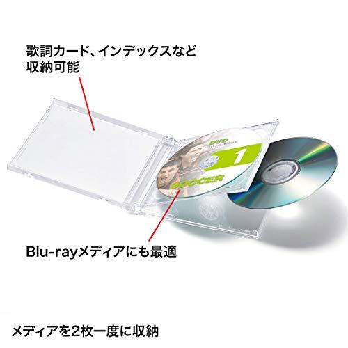 『サンワサプライ CD・DVD・BDケース 2枚収納×5枚セット 厚さ10mm クリア FCD-22CN』の1枚目の画像