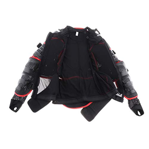 Almencla Chaqueta De Montar para Motocicleta Protección De Cuerpo Completo Armadura Armadura Guardia Ropa De Carreras De Motocross - S, M, L, XL, XXL, XXXL - Negro + Rojo XL