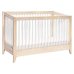 Babyletto Sprout 4-in-1 Convertible Crib with Toddler Bed Conversion Kit in Washed Natural / White, Greenguard Gold Certified