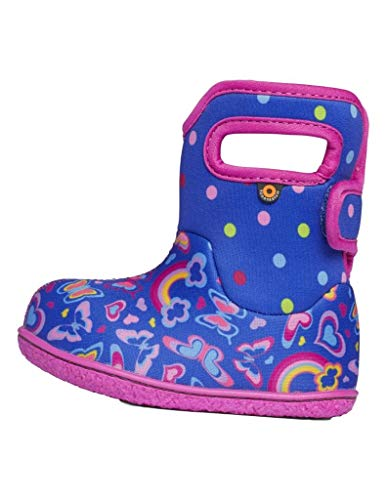 BOGS Baby Waterproof Insulated Snow Boot, Rainbows -Blue Multi, 8 US Unisex Infant