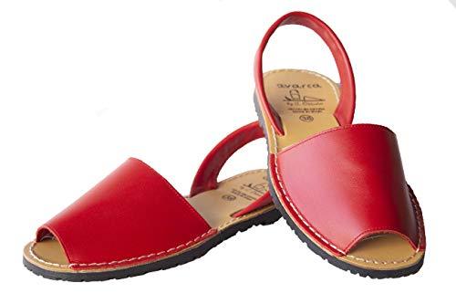 Avarca menorquina 201S – Damensandalen aus Leder, Rot - rot - Größe: 40 EU