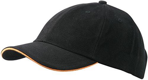 6 Panel Raver Bicolor Sandwich Baseball Cap in Heavy Brushed Cotton mit Metallschnalle zur Grössenverstellung in 16 Farbkombinationen ( Einheitsgrösse ) Schwarz-Orange