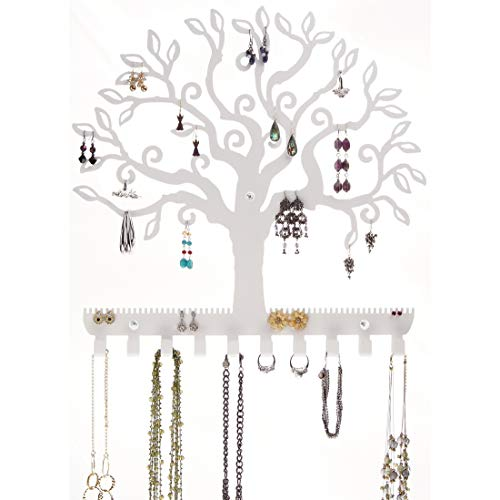 Stud Dangle Earring Holder Wall Mount Hanging Jewelry Organizer Display Necklace Jewelry Storage Rack, Tree of Life White