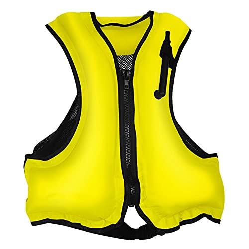 ZAYZ Chaqueta de Snorkel Inflable Adulto Chaleco Salvavidas con Correas para Piernas por Deportes Acuáticos Kayak Canotaje (Color : Yellow, Size : 58x49cm)