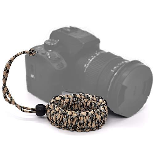 Ruberg Handschlaufe Seil Handgelenk-Schlaufe Kamera Armband Universal Kameragurt Verstellbar Paraord Kamera Handschlaufe für Canon Nikon Sony Fujifilm Olympus DSLR SLR Grün-schwarz