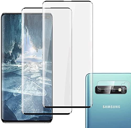 [2+1 Pack] Panzerglas Schutzfolie für Samsung Galaxy S10 Plus, Linse Schutzfolie, Fingerabdrucksensor Kompatible,3D Vollständige Abdeckung, Panzerglasfolie für Samsung Galaxy S10 Plus (2019)