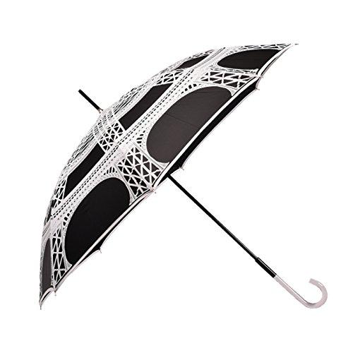 BOLERO OMBRELLI – Paraguas largo clásico resistente al viento de alta calidad – Apertura automática para permitir su uso con una sola mano – Tejido Pongee con impresión París