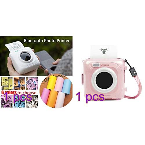 Paperang P1 Mini-fotoprinter, draadloos, compatibel met iPhone, Android, draagbaar, iPad, Mac, Mallalah draagbaar, bluetooth-printer, met beschermhoes Roze