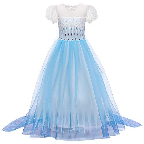O.AMBW Vestido con Capa Fija Manga Larga Falda Multicapa Color Azul Violeta Degradacin Disfraz Frozen Cosplay Princesa para Carnaval Disfraces Fiesta de Halloween para Nias de 2 a 9 aos